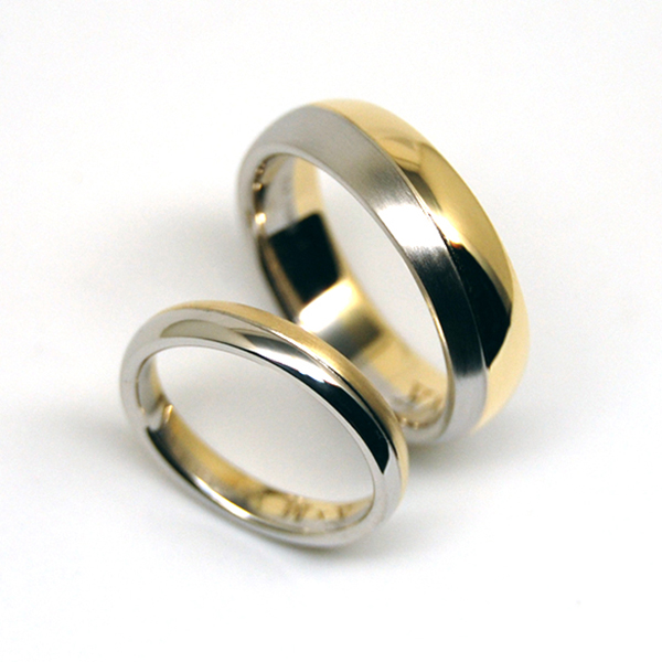Combination of K18 and Pt900 WEDDING RING