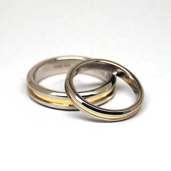 Combination of Pt900 & K18 WEDDING RING
