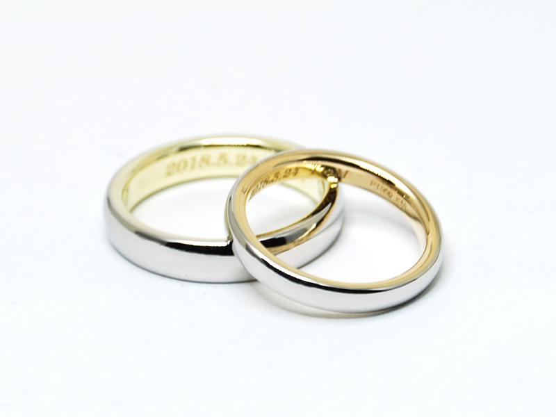 プラチナと18金のオーダーメイド結婚指輪2