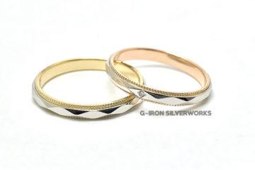 K18&PT900オーダーメイドミル打ち結婚指輪