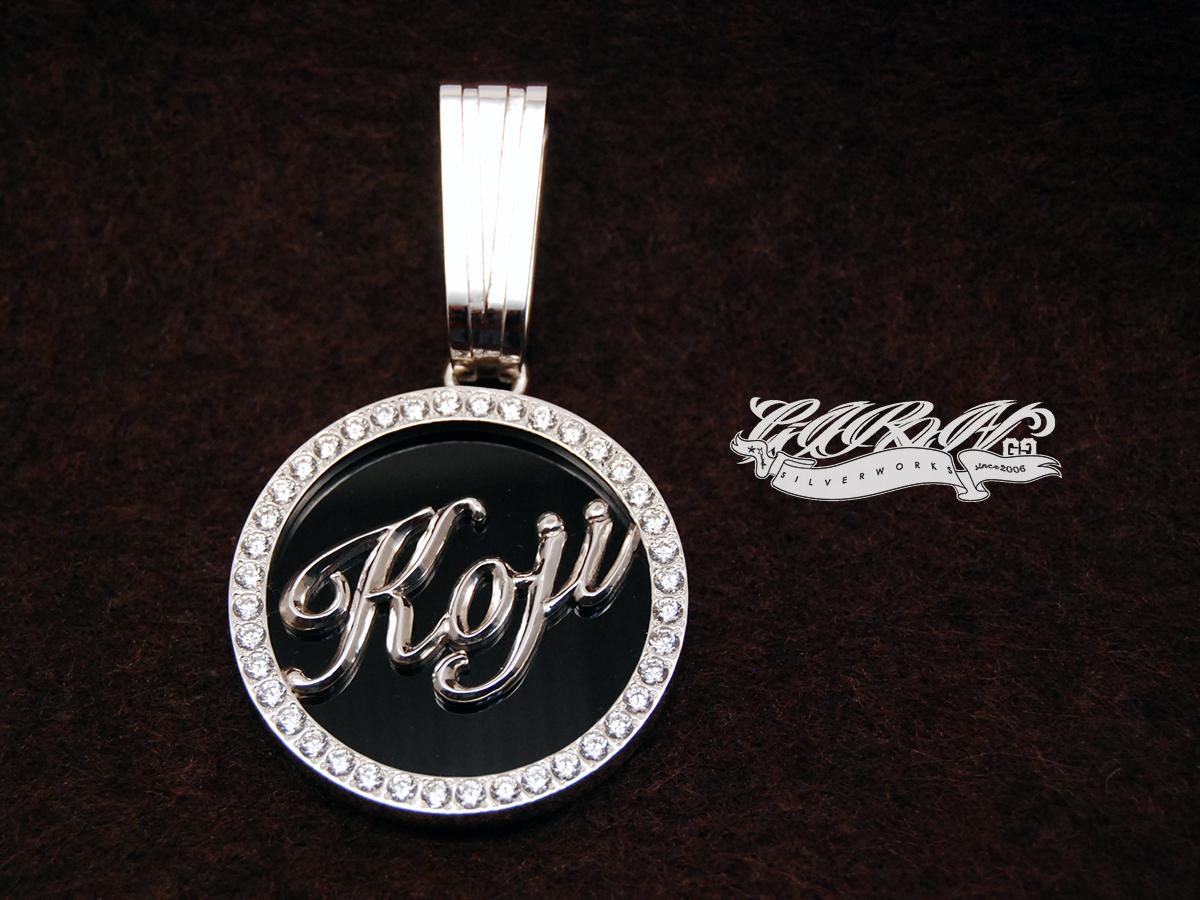 ORDERMADE pendant top/cz&onyx