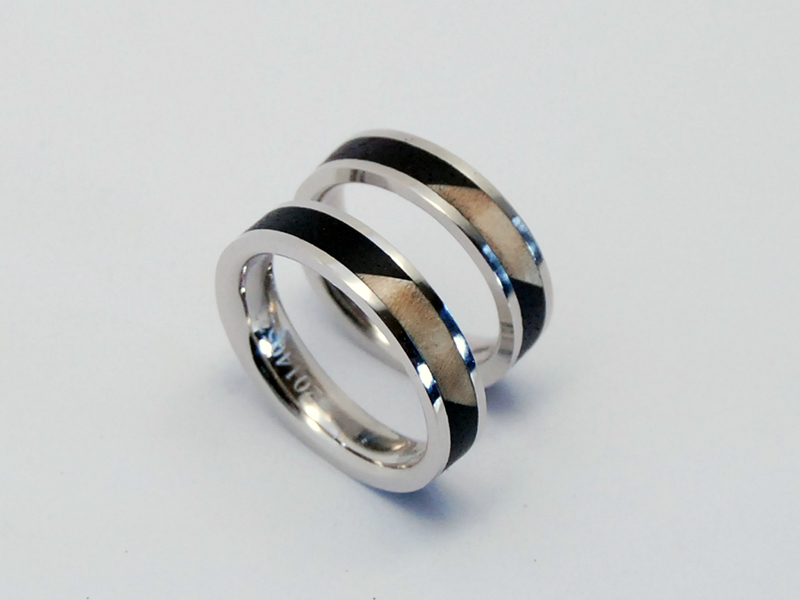 ORDERMADE WOOD×PLATINUM RING1