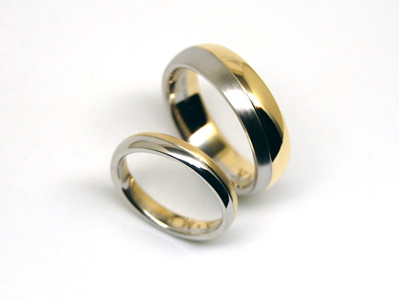 オーダーメイドプラチナ 18金 コンビネーション結婚指輪