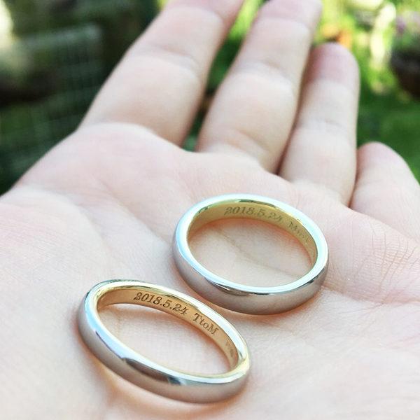 Pt900 & K18 Combination WEDDING RING