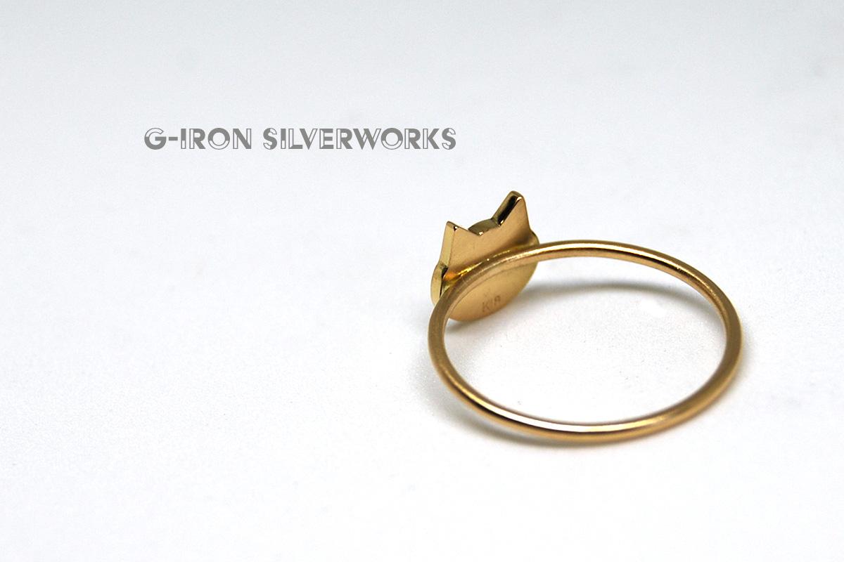 18金猫シルエットリング