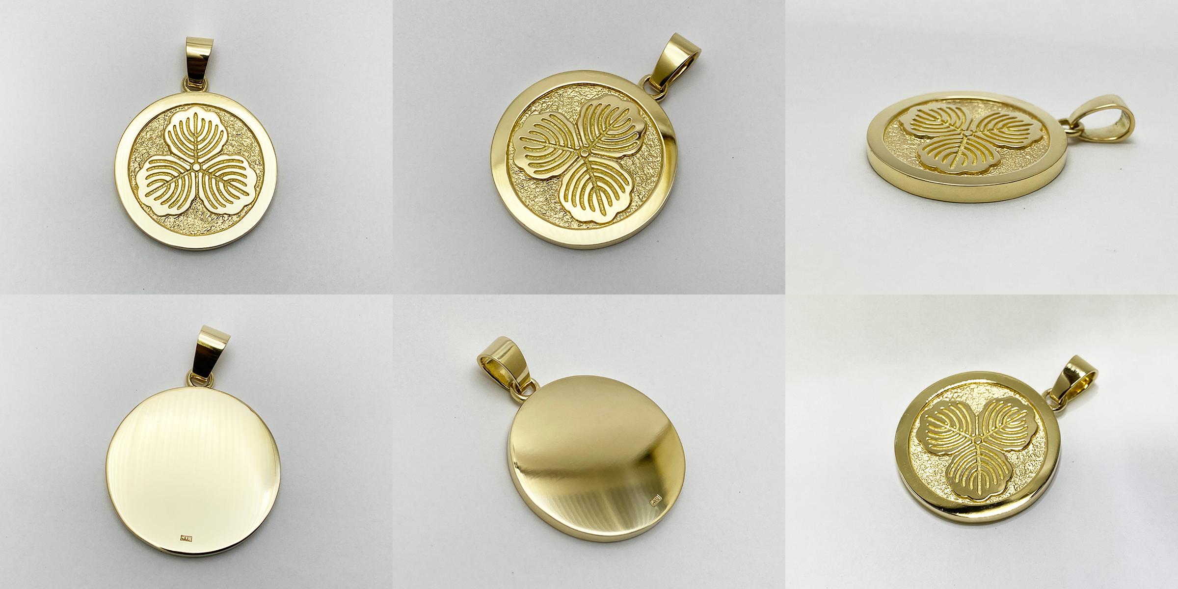 18金オーダーメイド家紋ペンダントトップ